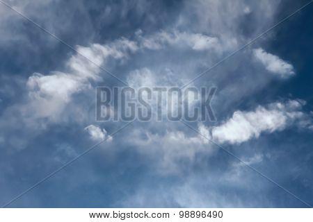 Blue sky with a white eye shape cloud