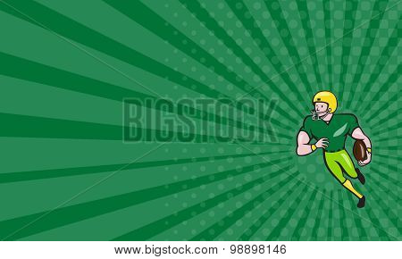 Business Card American Football Receiver Running Isolated Cartoon