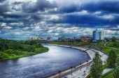 Centre of Tyumen embankment top view hdr Russia poster