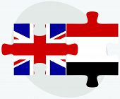 United Kingdom and Yemen Flags in puzzle isolated on white background. poster