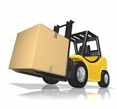 3d rendered yellow forklift with big box over white background poster