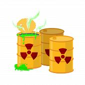 Yellow barrel with a radiation sign. Open container of radioactive waste. Green spilled acid. Vector illustration poster