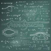 Aerodynamics law theory and physics mathematical formula equation doodle handwriting icon in blackboard background with hand drawn model poster