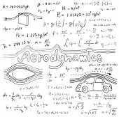 Aerodynamics law theory and physics mathematical formula equation doodle handwriting icon in white isolated background with handdrawn model poster