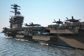 Navy aircraft carrier angled view, with a large compartment of aircraft and crew. poster