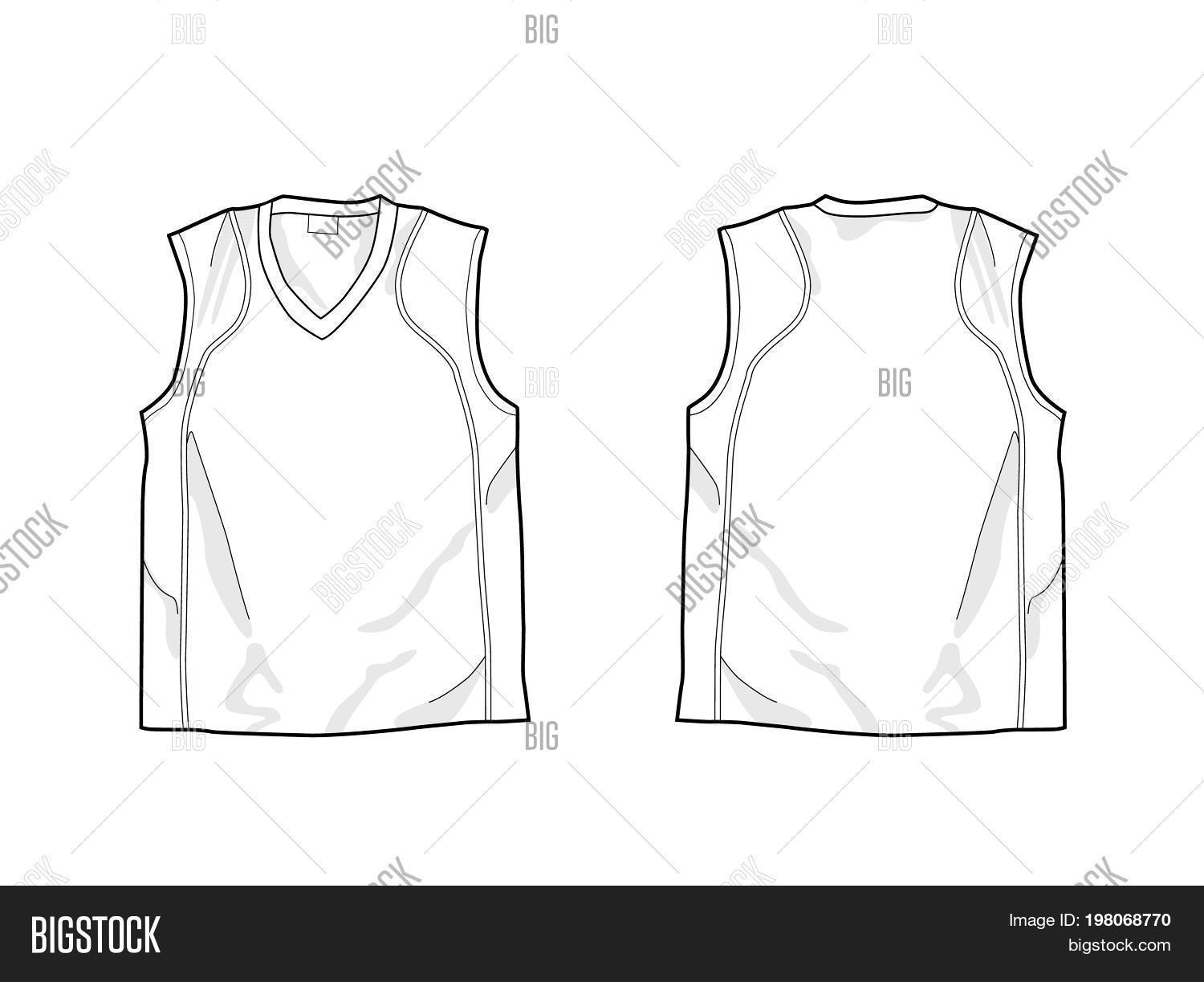 White Sleeveless Shirt Template Front And Back Drawing For Labels