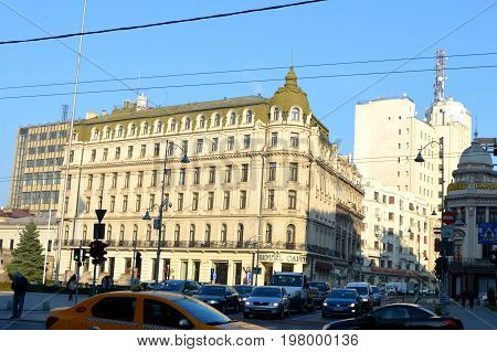 Typical urban landscape in the center of Bucharest - Bucuresti, the capital of Romania. It have 3 millions inhabitants and many historical vestiges
