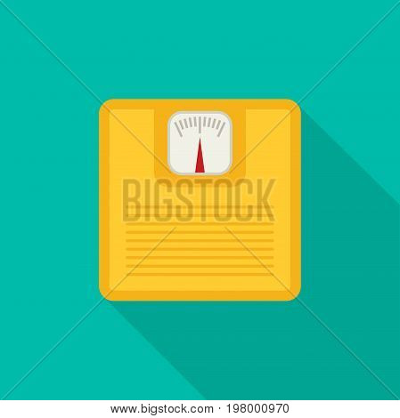 Bathroom scale flat design icon vector with long shadow