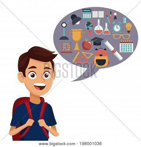 white background with colorful boy student with bag and dialog box with set school elements vector illustration
