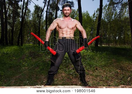 Strong Healthy Adult Ripped Man Lumberjack Worker Standing In Th