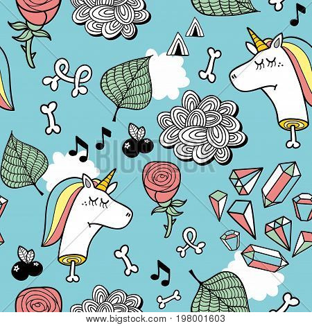 Seamless pattern with unicorn dead head, bones and pink roses. Vector endless background.