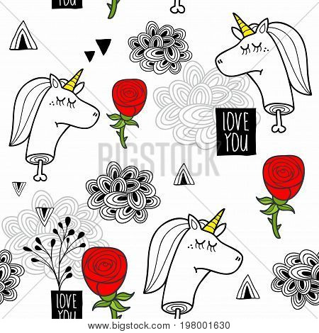Romantic seamless pattern with black and white dead unicorns. Vector wallpaper.