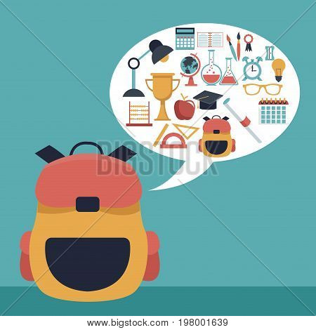 color background with closeup briefcase school and dialog box with elements academic vector illustration