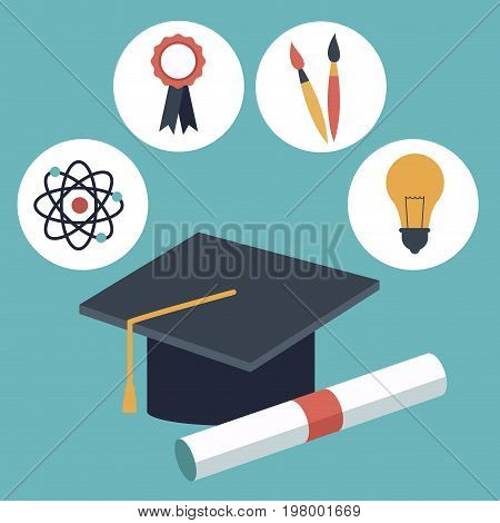 color background with closeup graduation cap and certificated with elements academic in icons vector illustration