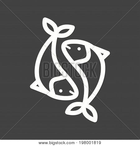 Pisces, sign, zodiac icon vector image. Can also be used for Zodiac. Suitable for use on web apps, mobile apps and print media.