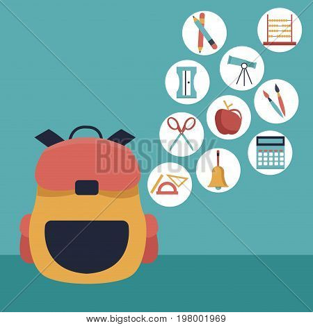 color background with closeup briefcase school and icons floating of elements academic vector illustration