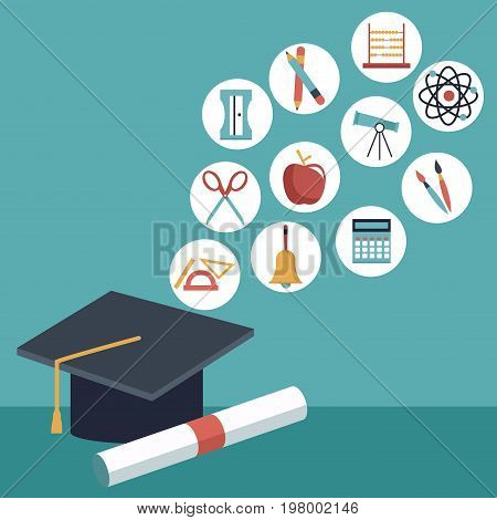 color background with closeup graduation cap and certificated with elements academic in icons floating vector illustration