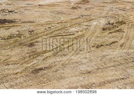 Truck Tyre Pattern On The Soil