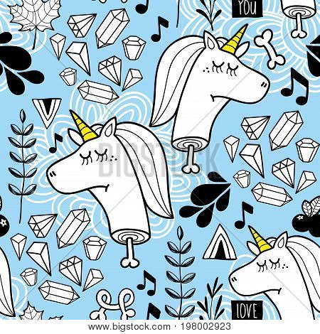 Endless background with heads of unicorn and nature elements. Colorful pattern in vector.