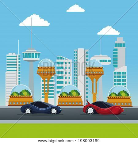colorful scene futuristic city metropolis with sport modern vehicles in the street vector illustration