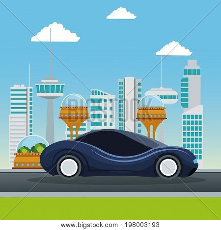 colorful scene futuristic city metropolis with sport dark blue modern car vector illustration
