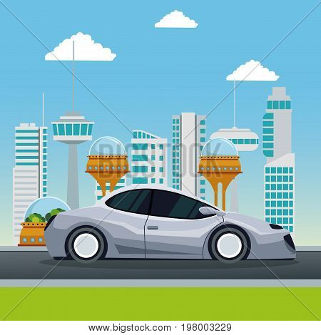 colorful scene futuristic city metropolis with modern gray car vehicle vector illustration