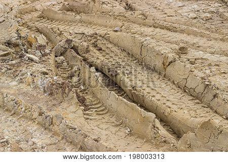 Truck Tyre Pattern On The Soil 3