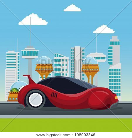 colorful scene futuristic city metropolis with sport red modern car vector illustration