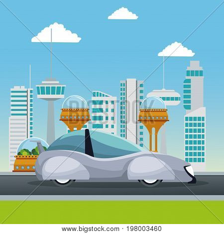 colorful scene futuristic city metropolis with white modern car vehicle vector illustration