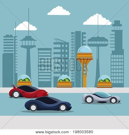 colorful scene futuristic city metropolis with sport modern cars in the street vector illustration