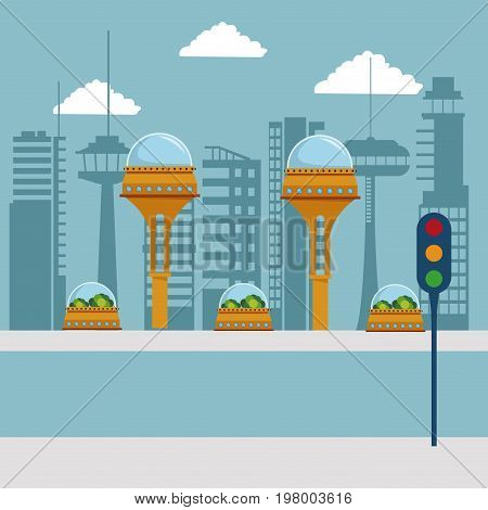 colorful scene futuristic city metropolis with traffic light in the street vector illustration