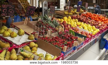 Rome Italy march 24 2017: Scene at the greengrocer in the new Testaccio Neighborhood market in Rome Italy