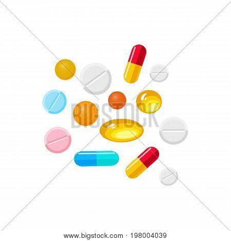 Vector pills and capsules realistic set. Illustration isolated on a white background. Cold and flu treatment concept, medicine and drugs. Realistic illness therapy tools, tablets