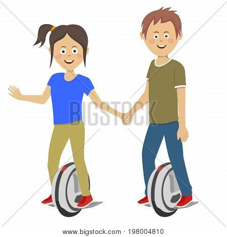 Young teenagers couple riding self balancing unicycle electric scooters over white background