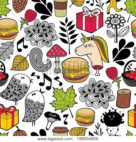 Seamless pattern with cute unicorns and forest animals. Colorful vector background.