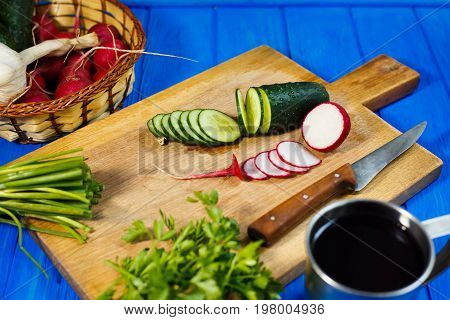 Fresh Crunchy Sliced Cucumber And Radish With Spring Onions And