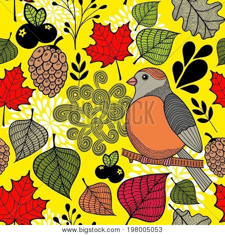 Black and with bird on the branch and autumn leaves. Endless pattern in vector.