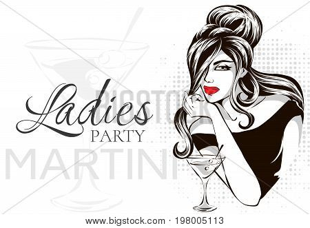 Retro Black And White Fashion Style Brunette Woman Portrait With Martini, Beautiful Girl At Ladies P