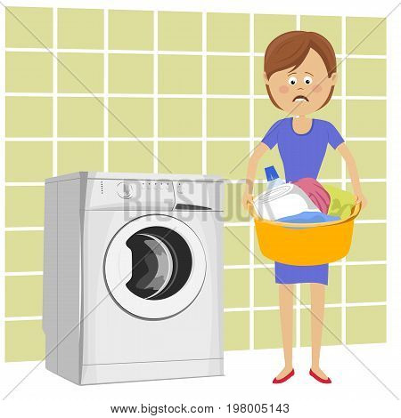 Unhappy young woman standing next to washing machine with basin filled with dirty clothes over white background