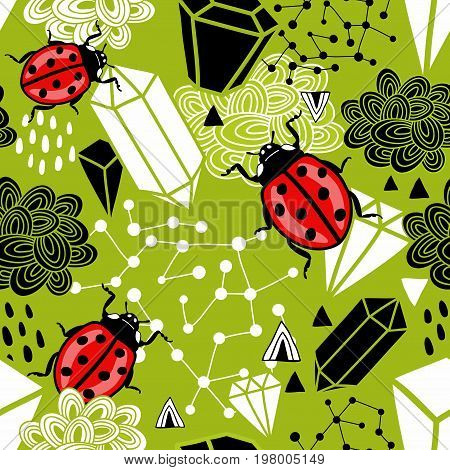 Creative seamless background with abstract design elements and ladybirds. Vector endless illustration.