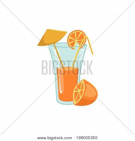 Freshly squeezed orange juice in tall glass with straw and umbrella, cartoon vector illustration isolated on white background. Orange juice, cocktail, drink in tall glass decorated with straw