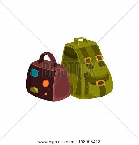 Couple of travel bags - leather suitcase with travel stickers and khaki colored textile backpack, cartoon vector illustration isolated on white background. Travel bags - handbag and backpack
