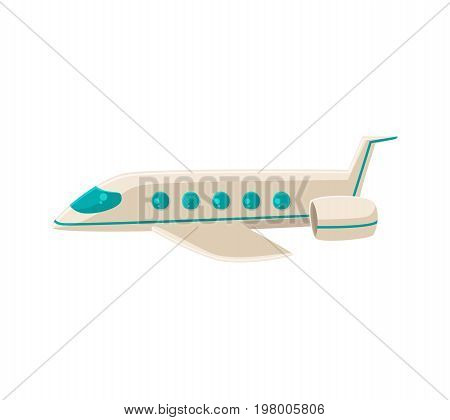 Side view cartoon vector illustration of commercial airplane isolated on white background. White cartoon airplane, plane, aircraft flying, side view illustration