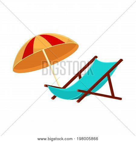Lounge chair and striped beach umbrella, cartoon vector illustration isolated on white background. Cartoon lounge chair and beach umbrella, summer vacation, sunbathing objects