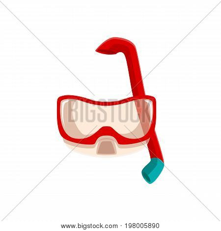 Snorkeling, scuba diving mask and breathing tube, cartoon vector illustration isolated on white background. Cartoon scuba diving mask and breathing tube, snorkeling equipment