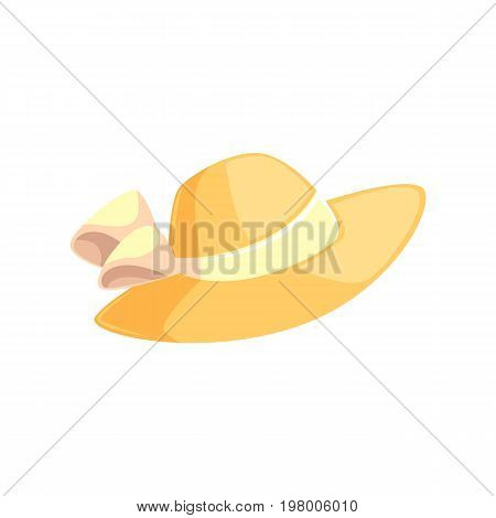 Pretty feminine straw summer hat with wide brims, cartoon vector illustration isolated on white background. Summer straw floppy hat with white ribbon, beach vacation attribute
