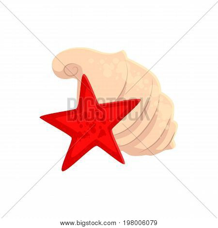 Spiral sea shell and star fish, cartoon vector illustration isolated on white background. Cartoon sea shell and red star fish, beach vacation souvenirs
