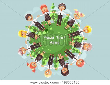 Stock vector illustration cartoon characters children holding hands and standing in circle with grass, bushes and trees for ecology protection, drive roundelays, lead dances flat style blue background