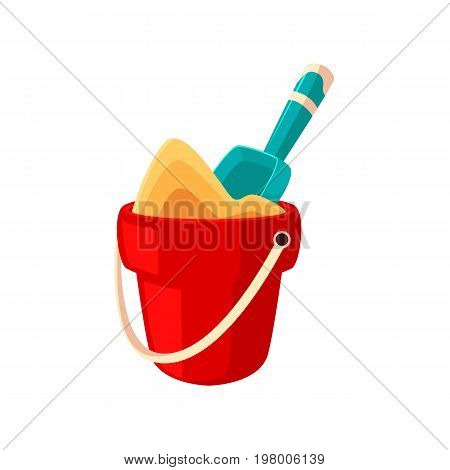 Toy red bucket full of sand and little blue shovel, spade, cartoon vector illustration isolated on white background. Cartoon summer vacation toys - little bucket and shovel