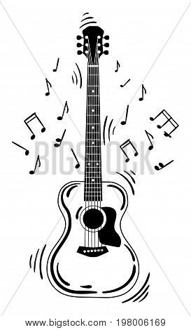 Acoustic guitar makes a sound. Black and white guitar with notes. Musical instrument. Musical emblem. Isolated stylish art. Modern grunge and rock style.